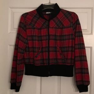 Red plaid cropped jacket SZ XL